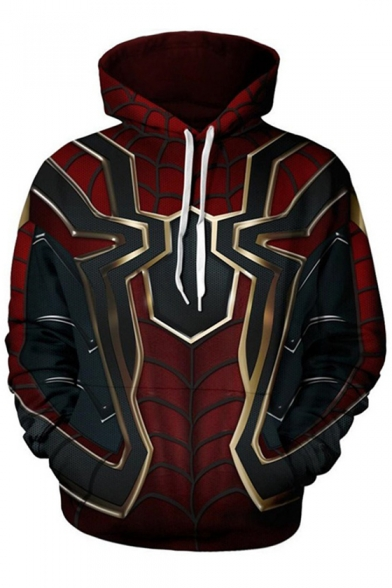 Popular Avengers 3 Spider-Man Print Long Sleeve Red Pullover Drawstring Hoodie