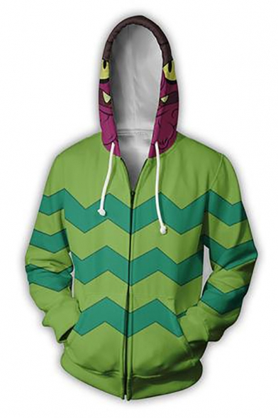 Rick and Morty Cosplay Costume Green Long Sleeve Zip Up Drawstring Hoodie