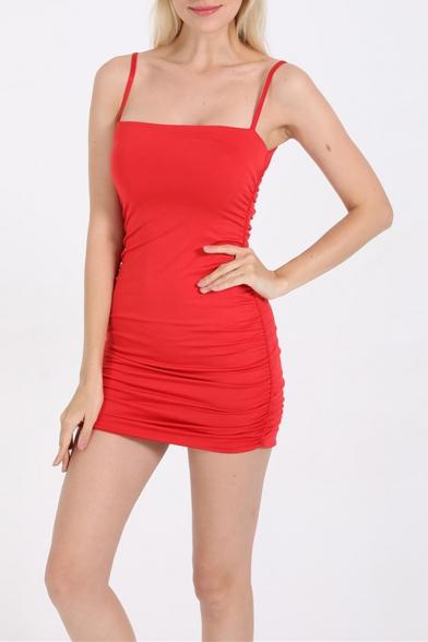 Sexy Simple Plain Spaghetti Straps Pleat Detail Mini Bodycon Slip Dress