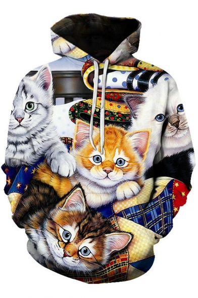 Unique 3D Cat Printed Sport Loose Pullover Drawstring Hoodie