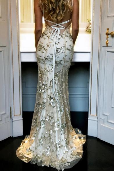 Women's Sexy V-Neck Floor Length Bodycon Sequined Slip Evening Dress