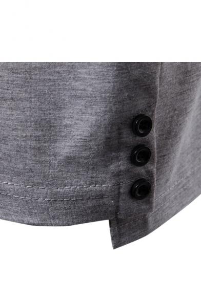 Fashion Four Striped Long Sleeve Rib Collar Men's Slim Fit Polo Shirt