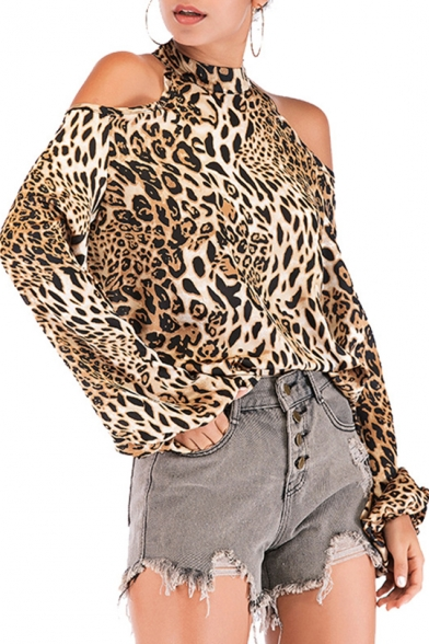 Fashion Leopard Printed Mock Neck Cold Shoulder Lantern Sleeve Khaki Blouse