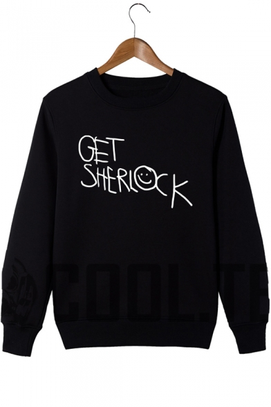 Funny Smile Face Letter GET SHERLOCK Pattern Long Sleeve Loose Fit Pullover Sweatshirt