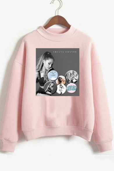 Mock Neck Long Sleeve Popular Singer Print Loose Fit Sweatshirt