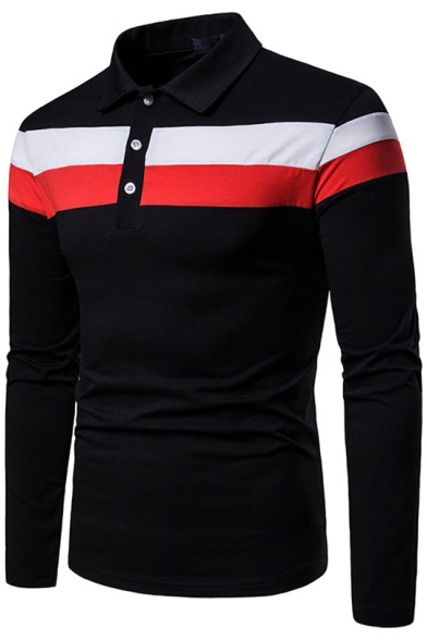 New Trendy Colorblocked Long Sleeve Three-Button Slim Fit Polo Shirt for Men