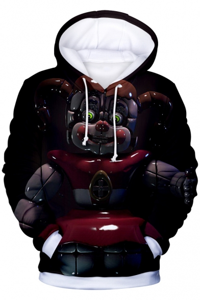 Trendy 3D Five Nights at Freddy Comic Print Pullover Drawstring Hoodie