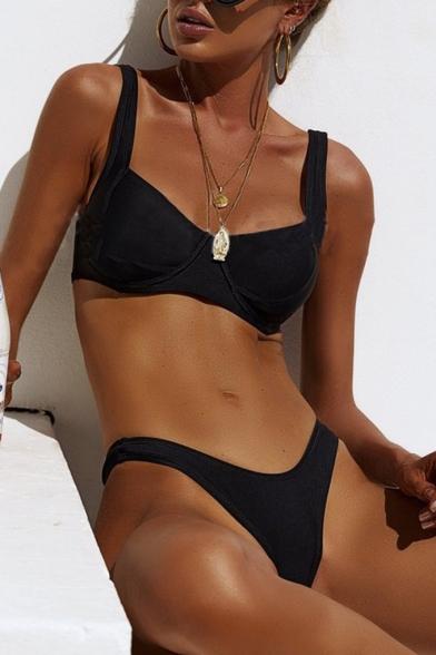 Women's Summer Sexy Simple Plain Beach Bikini Swimwear