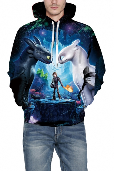 How To Train Your Dragon Blue 3D Cartoon Figure Print Casual Loose Long Sleeve Pullover Drawstring Hoodie