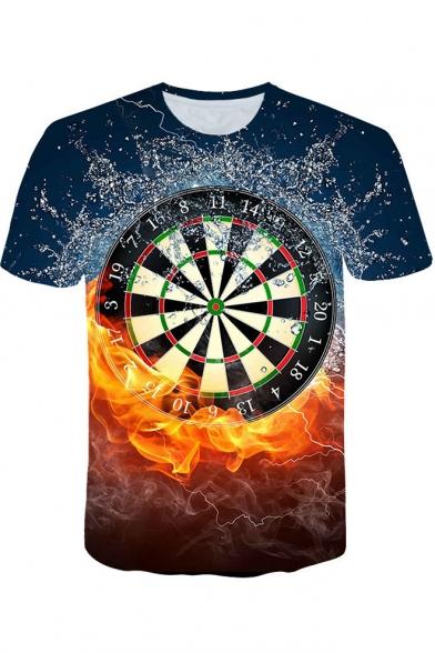 Cool 3D Fire Dart Board Print Blue Loose Leisure T-Shirt