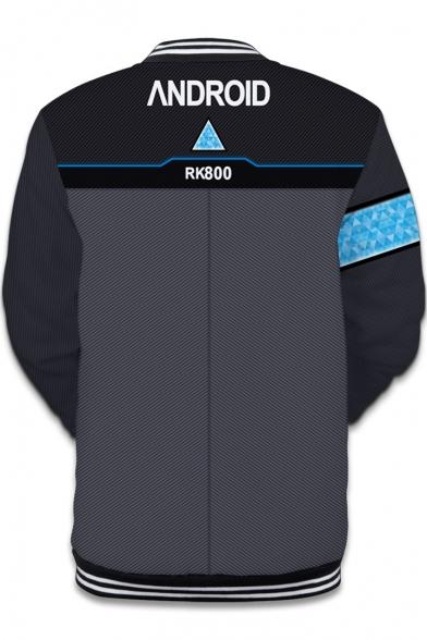 Fashion 3D Printed Rib Stand Collar Grey Baseball Jacket