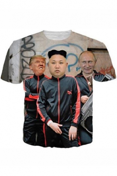 Funny 3D Figure Kim Jong Un Trump and Putin Printed Round Neck Short Sleeve Grey T-Shirt