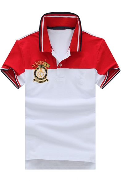 Men's Rib Collar Tipped Short Sleeve Colorblocked Casual Cotton Logo Polo Shirt