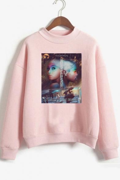 Popular American Singer Figure Mock Neck Long Sleeve Pullover Sweatshirt