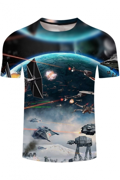 Star Wars Round Neck Short Sleeve Cool 3D Printed Basic Blue T-Shirt