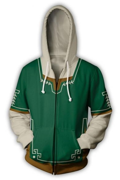 The Legend of Zelda Cospaly Costume Green Zip Up Hoodie