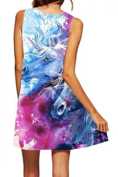 Trendy Blue 3D Unicorn Pattern Round Neck Casual Mini Swing Tank Dress