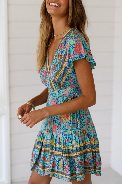 Women's Holiday Boho Style Floral Printed V-Neck Short Sleeve Pleated Mini A-Line Dress