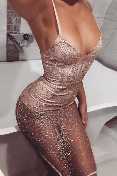 Women's Pink Sexy Transparent Sequined Midi Bodycon Slip Dress for Party