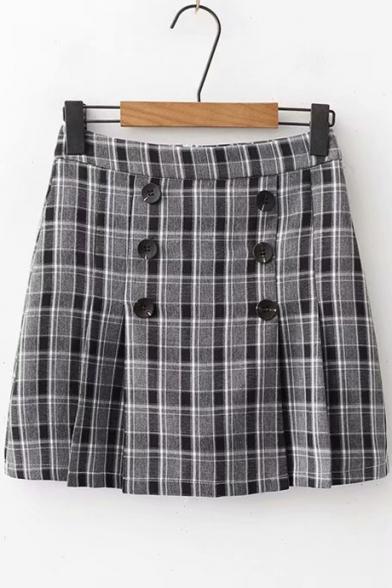 Купить со скидкой Classic Check Printed High Waist Double-Breasted Mini A-Line Skirt