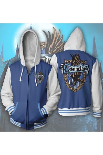 Harry Potter University Badge Print Cosplay Costume Long Sleeve Blue Zip Up Hoodie