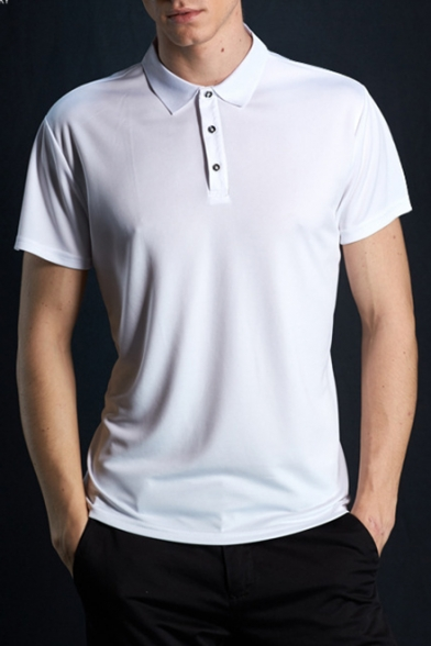 Men's Basic Plain Short Sleeve Dri-Fit Playoff Performance Athletic-Fit Polo Shirt