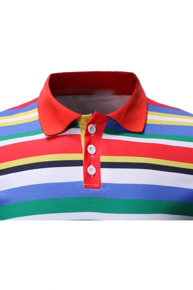 c95ab3a04211 ... Men's Trendy Colorful Striped Print Short Sleeve Regular-Fit Casual  Polo Shirt ...