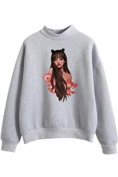 Popular Singer Figure Print Mock Neck Long Sleeve Loose Casual Sweatshirt