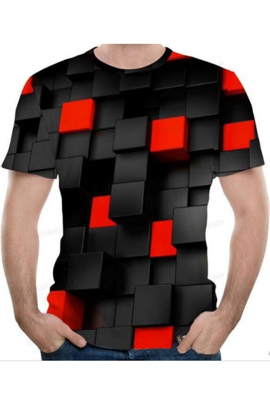 Summer Cool 3D Black and Red Check Pattern Round Neck Short Sleeve T-Shirt