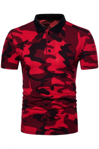 Summer New Stylish Camo Printed Short Sleeve Breathable Slim Fit Polo for Men