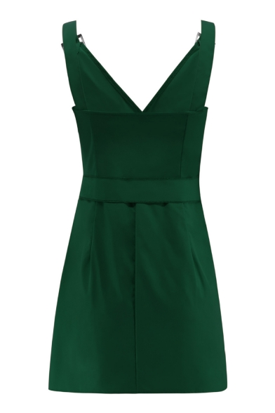 V-Neck Tied Waist Button Front Plain Mini Bodycon Cami Dress with Pocket