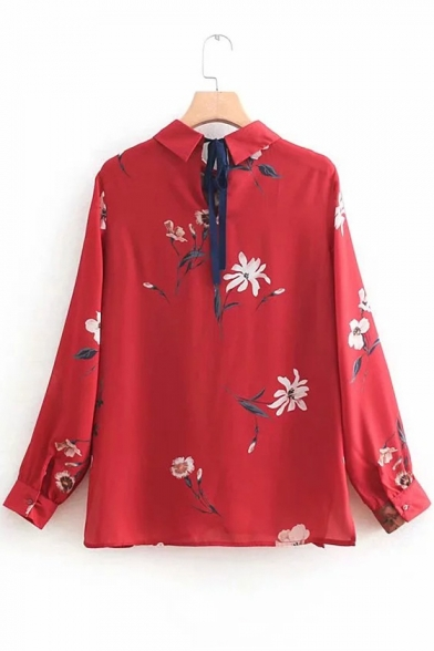 Vintage Floral Printed Long Sleeve Tied Back Red Blouse for Women
