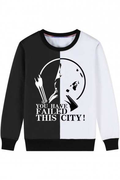 Letter YOU HAVE FAILED THIS CITY Colorblocked Long Sleeve Round Neck Sweatshirt