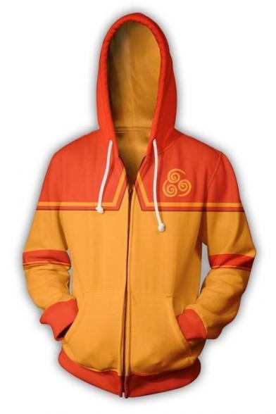 Avatar 3D Print Long Sleeve Loose Fit Cosplay Costume Orange Zip Up Hoodie