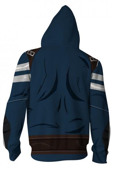 3D Print Long Sleeve Cosplay Costume Blue Zip Up Fitted Hoodie