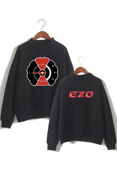 EXO Kpop Fashion Mock Neck Long Sleeve Loose Casual Pullover Sweatshirt