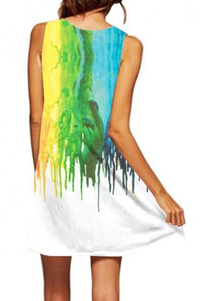 Fashion 3D Oil Painted Round Neck Sleeveless Mini White Swing Tank Dress