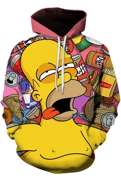 Funny 3D Cartoon Comic Character Print Long Sleeve Yellow Hoodie