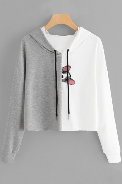 New Trendy Cartoon Dog Print Colorblock Long Sleeve Cropped Grey and White Hoodie