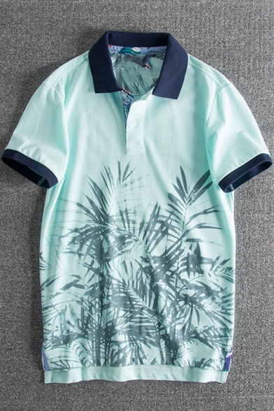8e876b00d Retro Light Green Plants Printed Contrast Trim Loose Casual Polo Shirt for  Men ...