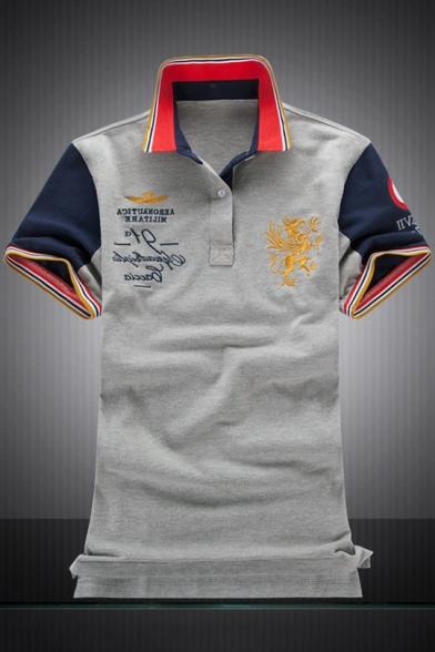 Rib Collar Colorblocked Air Force One Logo Print Short Sleeve Cotton Polo Shirt for Men
