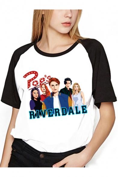 Riverdale Figure Printed Colorblocked Raglan Sleeve Round Neck Loose T-Shirt