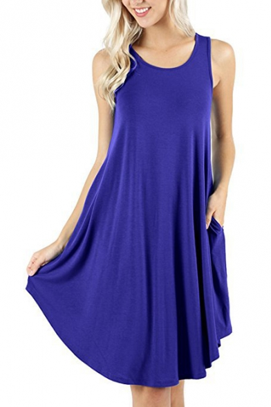 Summer Basic Round Neck Sleeveless Simple Plain Midi Swing Dress with Pocket