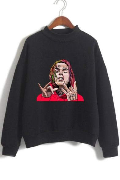 American Rapper Figure Print Mock Neck Long Sleeve Pullover Loose Fit Sweatshirt