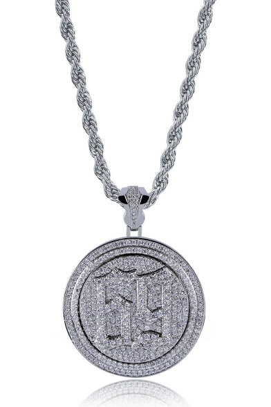 Popular Rapper Rotatable Double-Layered Disk Necklace