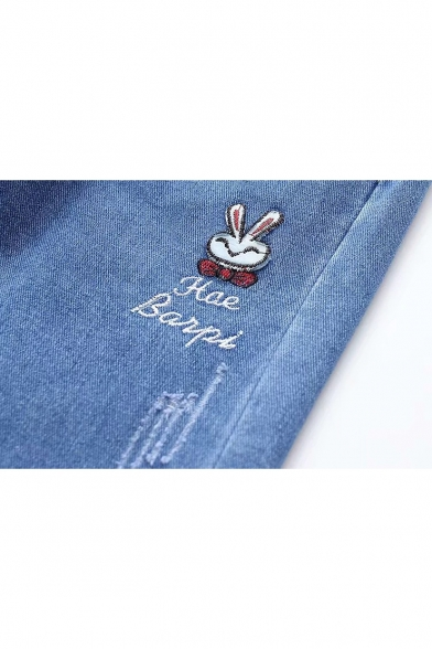 Elastic Drawstring Waist Cartoon Rabbit Embroidered Casual Blue Jeans for Juniors