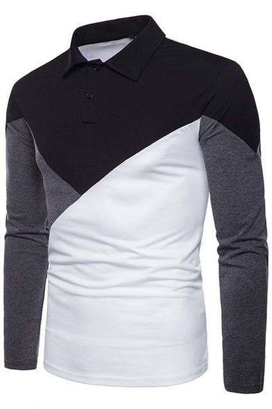 1bf8de97a Men's New Fashion Colorblock Slim Fitted Long Sleeve Polo Shirt -  Beautifulhalo.com