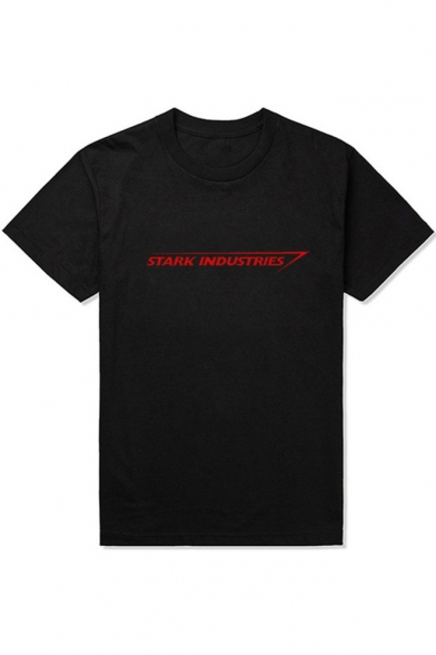 Popular Letter STARK INDUSTRIES Pattern Short Sleeve Round Neck Cotton T-Shirt