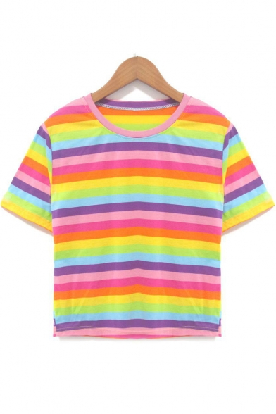 8fb2bb8d4f9 Rainbow Striped Printed Round Neck Short Sleeve Cropped Pink T-Shirt -  Beautifulhalo.com