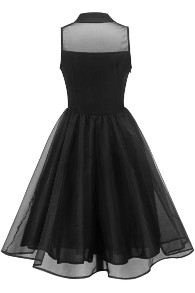 Simple Plain Black Lapel Collar Button Front Sleeveless Midi Fit and Flared Dress